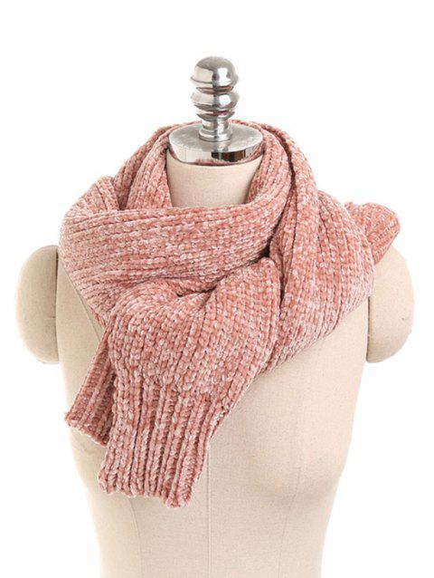 Solid Color Knitted Winter Scarf - ROSE