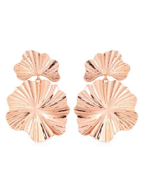 Statement Alloy Leaf Dangle Earrings - ROSE GOLD