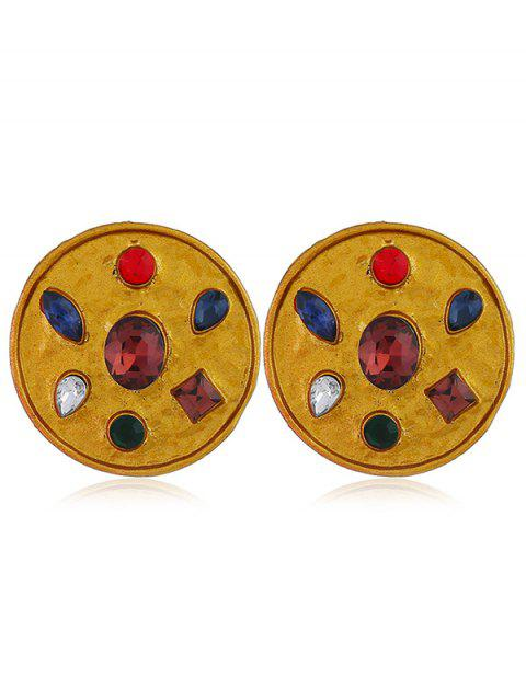 Faux Gem Inlaid Alloy Round Earrings - GOLD