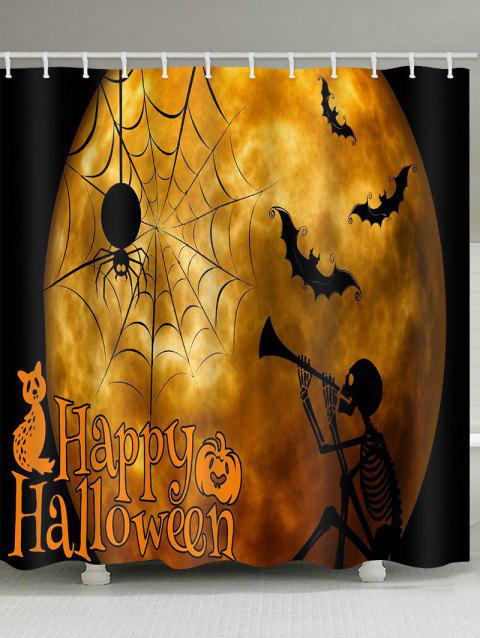 Halloween Skeleton Pattern Waterproof Shower Curtain - NIGHT W71 X L71 INCH