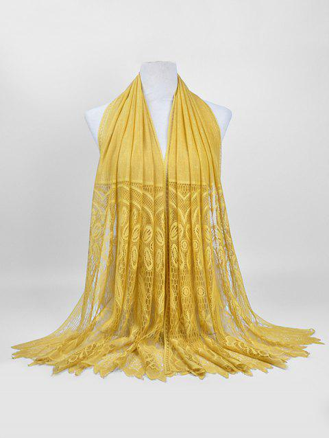 Floral Pattern Lace Elegant Long Scarf - SUN YELLOW