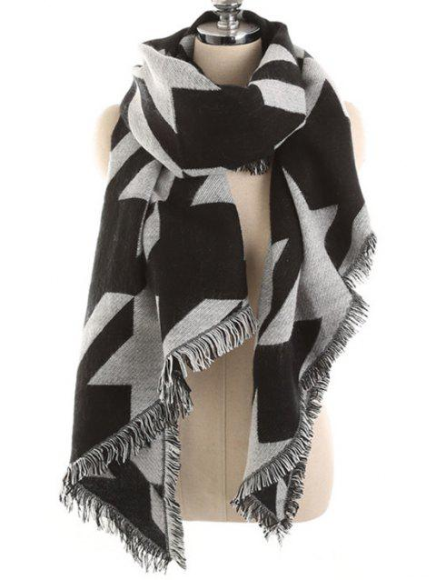 Houndstooth Fringed Winter Long Scarf - JET BLACK