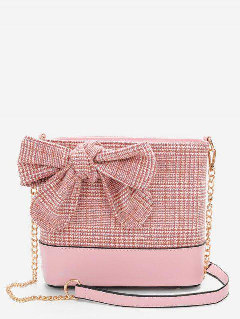Bowknot Plaid Print Chain Crossbody Bag - LIGHT PINK