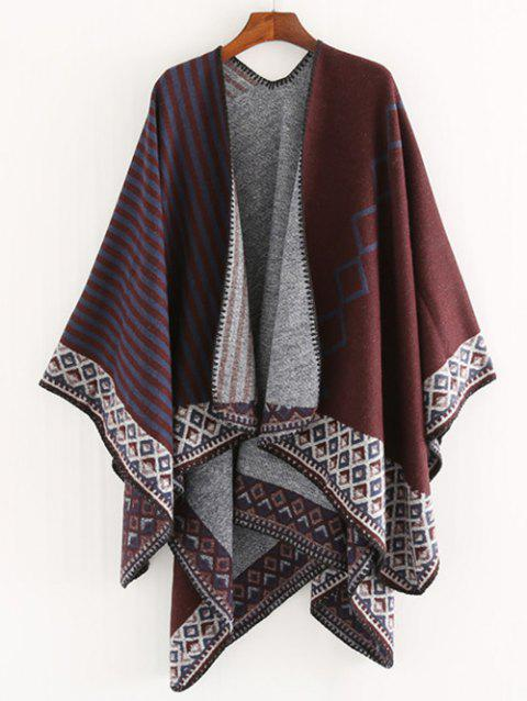Vintage Striped Rhombus Wrap Scarf - RED WINE