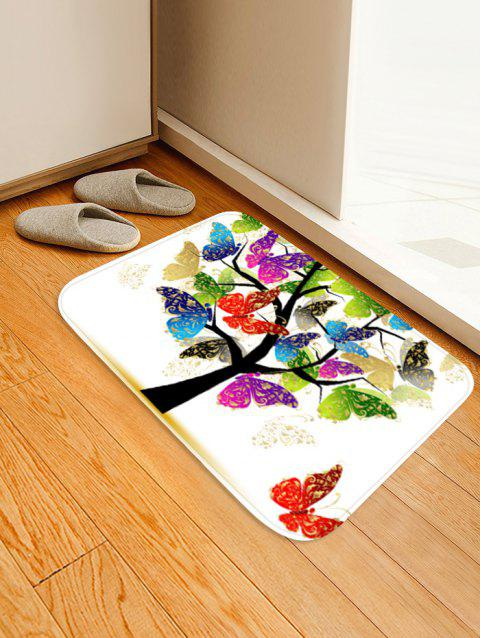 Butterfly Tree Pattern Anti-skid Area Rug - WHITE W16 X L24 INCH