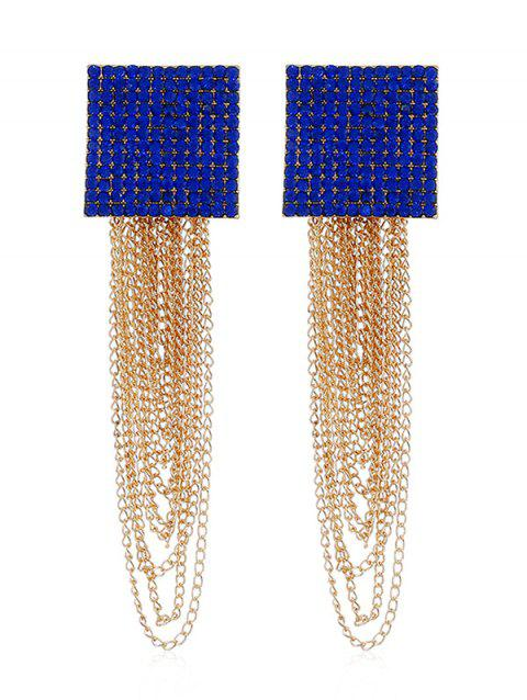 Rhinestone Squared Chain Fringe Earrings - BLUE