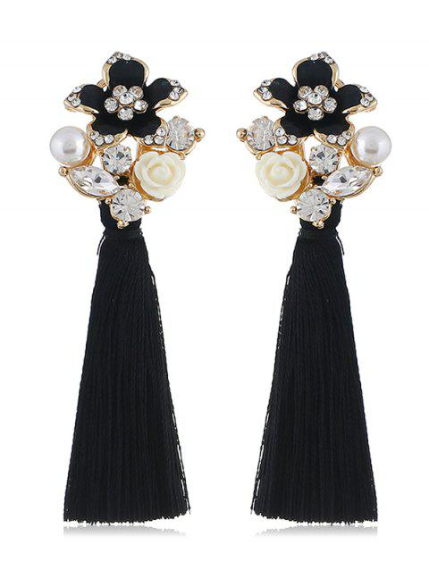 Vintage Rhinestone Floral Tassel Drop Earrings - BLACK