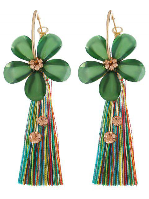 Vintage Floral Fringed Alloy Earrings - CLOVER GREEN