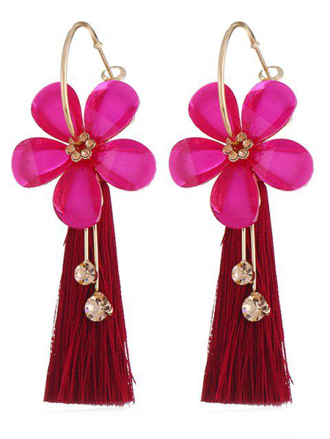 Vintage Floral Fringed Alloy Earrings - ROSE RED