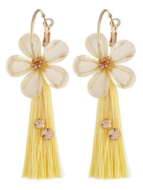 Vintage Floral Fringed Alloy Earrings - YELLOW