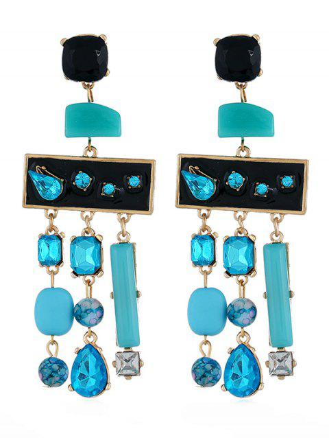 Colored Rhinestone Fringed Party Earrings - CELESTE