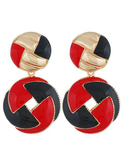 Stylish Multicolor Rounded Alloy Drop Earrings - RED