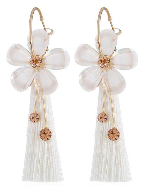Vintage Floral Fringed Alloy Earrings - WHITE