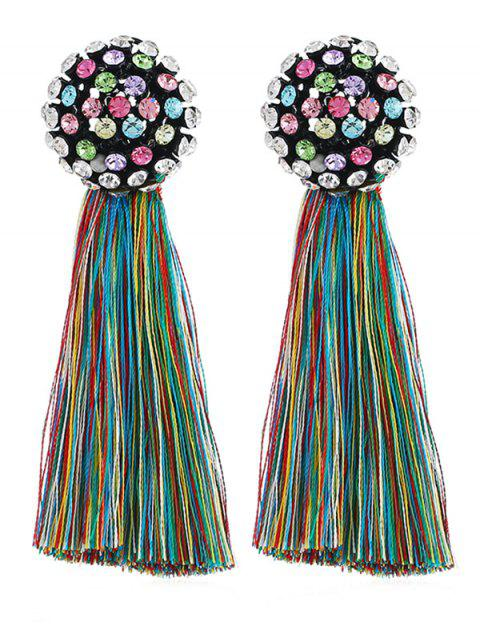 Rhinestone Tassel Dangle Drop Earrings - multicolor