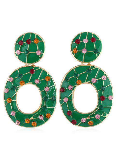 Vintage Colored Rhinestone Hollow Out Earrings - CLOVER GREEN