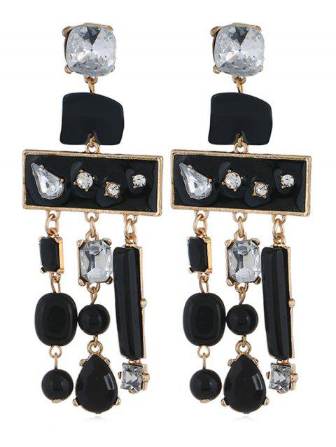 Colored Rhinestone Fringed Party Earrings - BLACK