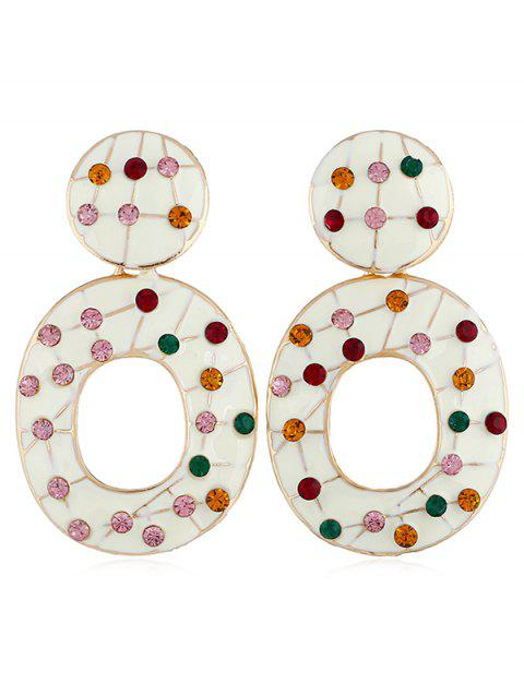 Vintage Colored Rhinestone Hollow Out Earrings - WARM WHITE