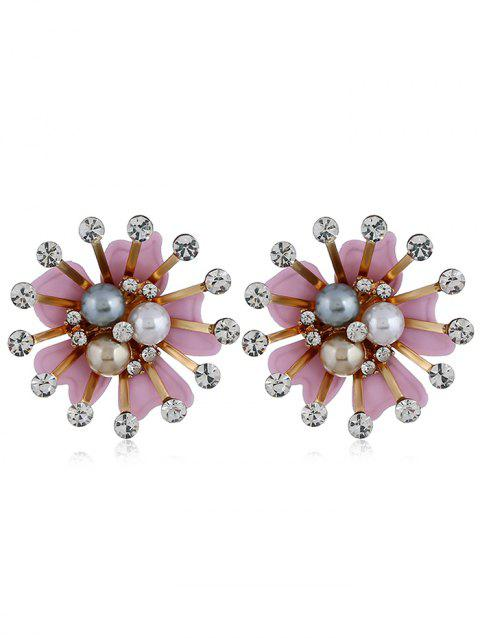 Vintage Rhinestone Faux Pearl Flower Earrings - PIG PINK