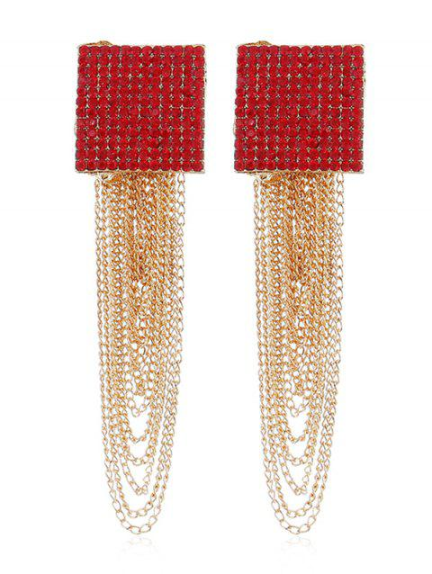 Rhinestone Squared Chain Fringe Earrings - RED