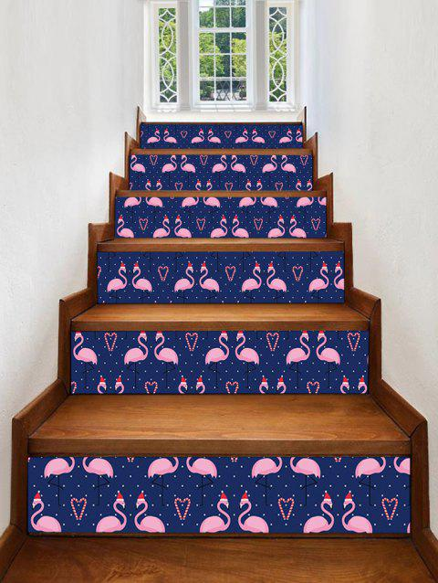 Flamingo Polka Dot Print Removable Stair Stickers - multicolor 6PCS X 39 X 7 INCH( NO FRAME )