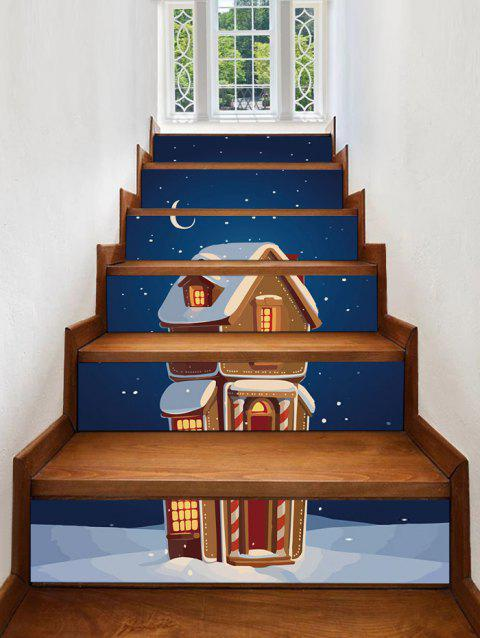 Christmas Cartoon Cabin Snow Print Removable Stair Stickers - multicolor 6PCS X 39 X 7 INCH( NO FRAME )