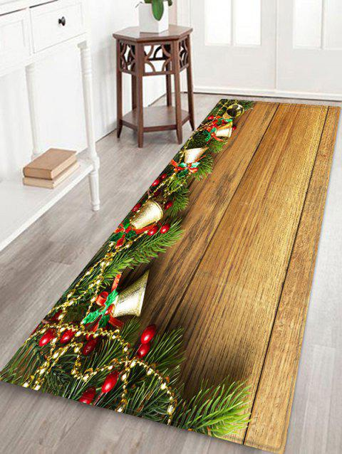 Christmas Jingle Bell and Board Print Non-slip Area Rug - WOOD W24 X L71 INCH