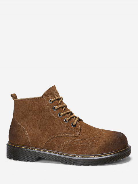 Retro Lace Up Ankle Wing Tip Boots - BROWN EU 44