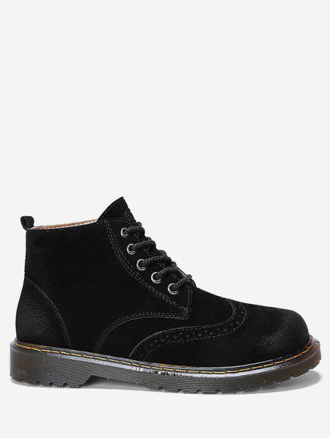 Retro Lace Up Ankle Wing Tip Boots - BLACK EU 42