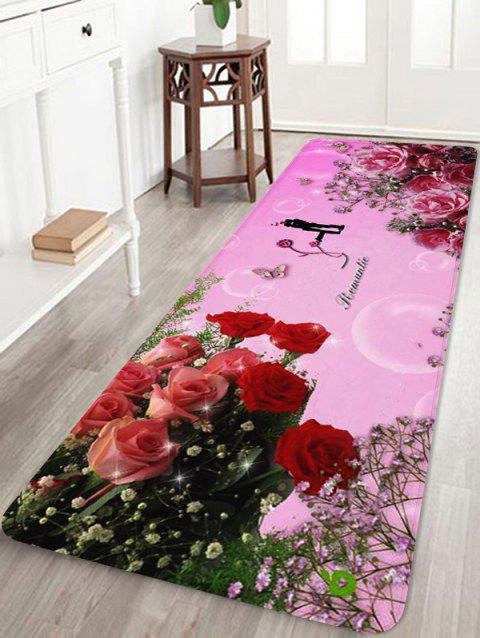 Rose Flower Print Non-slip Coral Fleece Area Rug - PINK W24 X L71 INCH