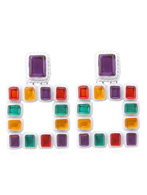 Stylish Geometric Colored Rhinestone Earrings - multicolor B