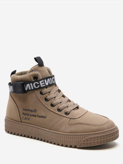 High Top Letter Embroidery Sneakers - BROWN EU 43