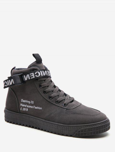 High Top Letter Embroidery Sneakers - GRAY EU 40
