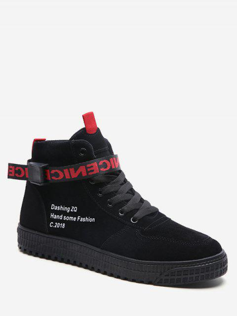 High Top Letter Embroidery Sneakers - BLACK EU 41