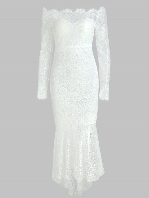Off The Shoulder Lace Mermaid Dress - WHITE M
