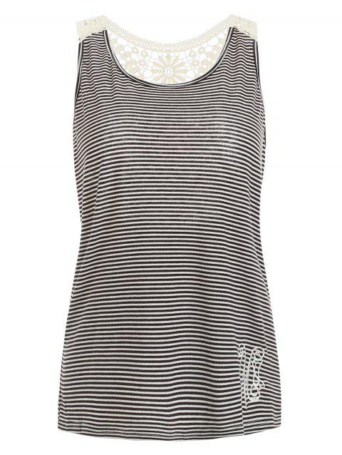 Stylish Scoop Neck Lace Splicing Striped Embroidery Women's Tank Top - GRAY M