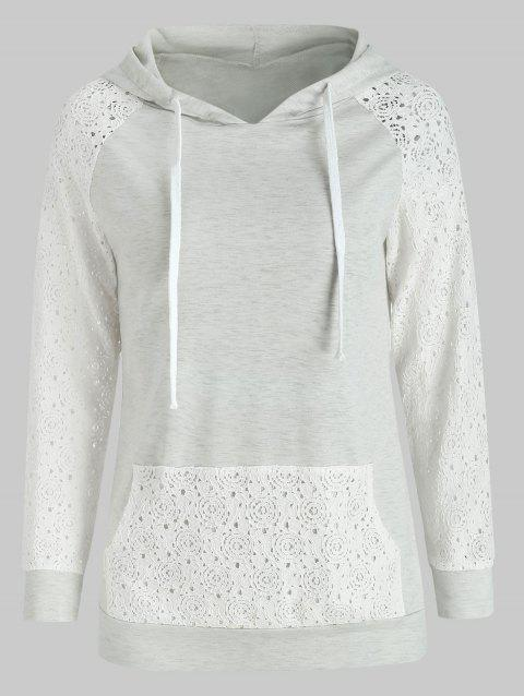 Sweet Long Sleeve Hooded Lace Splicing Women's Pullover Hoodie - GREY/WHITE L