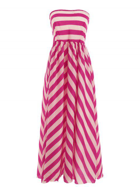 Trendy Nipped Waist Color Block Striped Strapless Maxi Dress - ROSE MADDER M