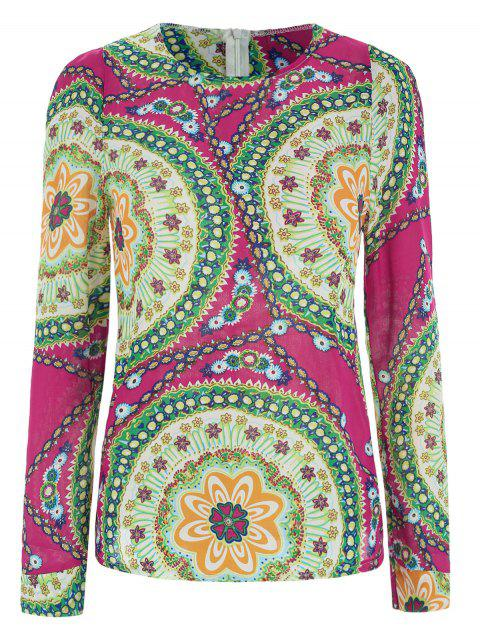 Ladylike Women's Chiffon Shirt With Round Neck Floral Print Long Sleeve Design - ROSE ONE SIZE