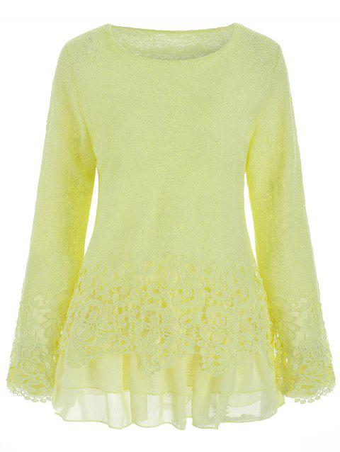 Chic Round Collar Long Sleeve Spliced Lace Women's Blouse - BEIGE S
