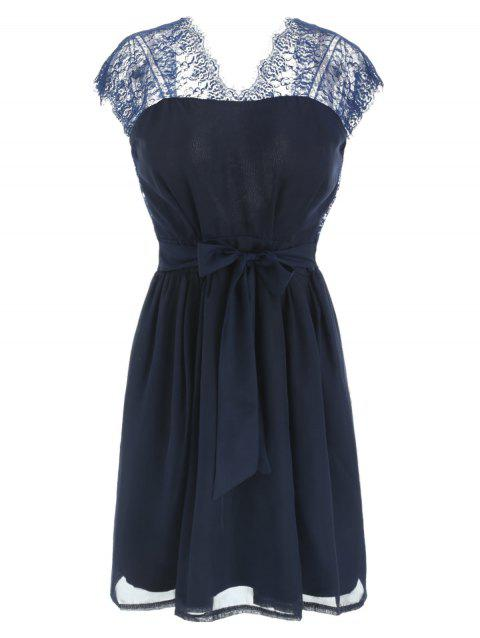 Lace Panel Backless Mini Bridal Shower Dress - BLUE XL