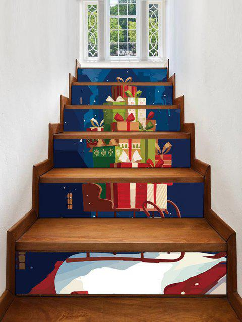 Christmas Gifts Pattern Stair Stickers - multicolor 6PCS X 39 X 7 INCH( NO FRAME )