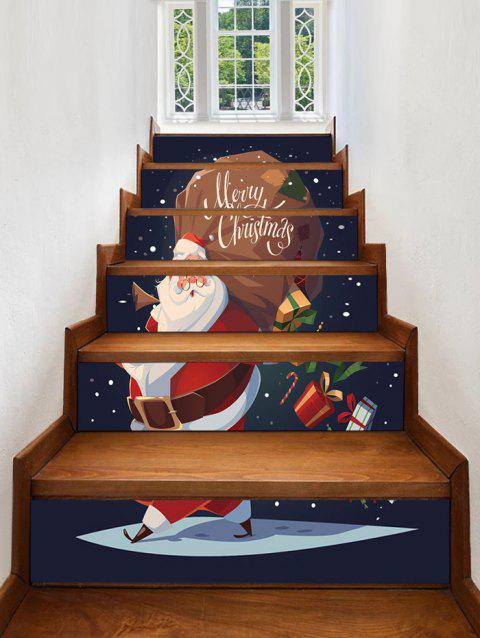 Christmas Santa Claus Pattern Stair Stickers - MIDNIGHT BLUE 6PCS X 39 X 7 INCH( NO FRAME )