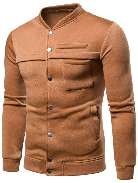 Splicing Whole Colored Pockets Jacket - CAMEL BROWN XL