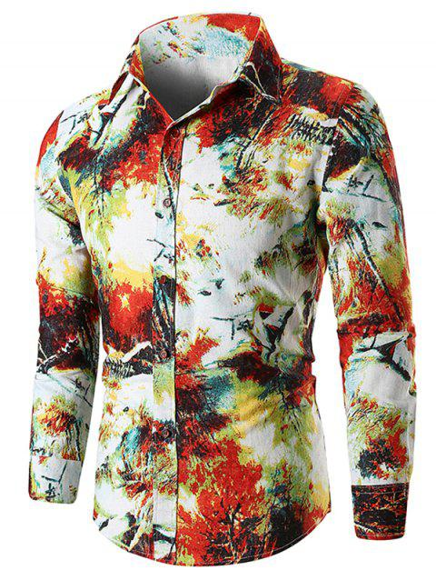Long Sleeve Paint Forest Shirt - RED L