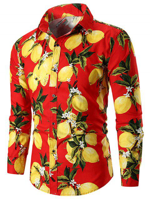 Casual Lemon Print Button Up Shirt - RED WINE L