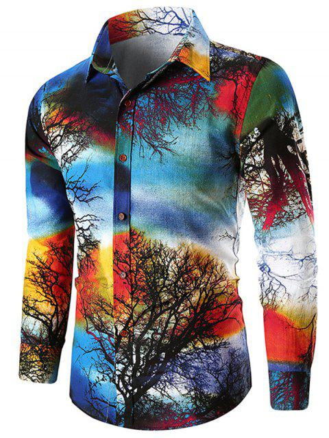 Button Up Paint Tree Print Shirt - multicolor XL