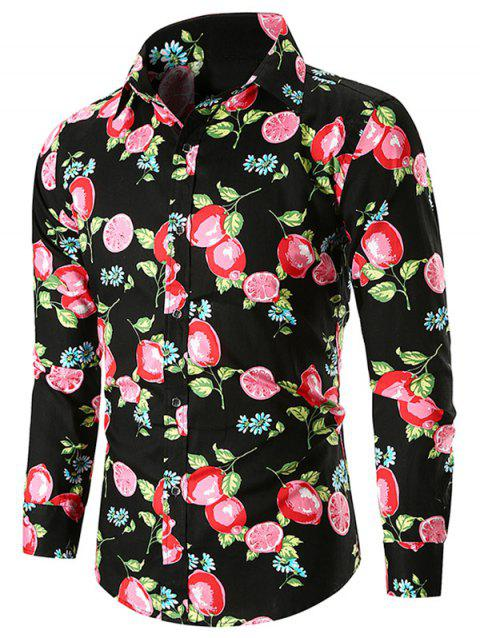 Casual Lemon Print Shirt - BLACK XL