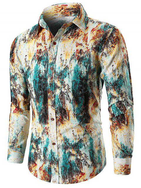Long Sleeve Printed Slim Fit Shirt - GREEN 3XL