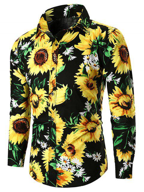 Sunflower Print Button Up Shirt - BLACK 3XL