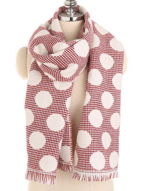 Soft Polka Dot Fringed Long Scarf - CHERRY RED